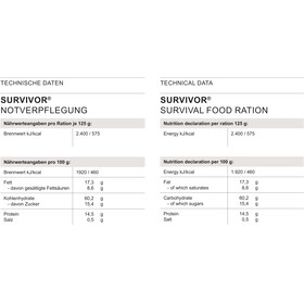 Trek'n Eat Survivor Outdoor Nutrition 125g blue/silver